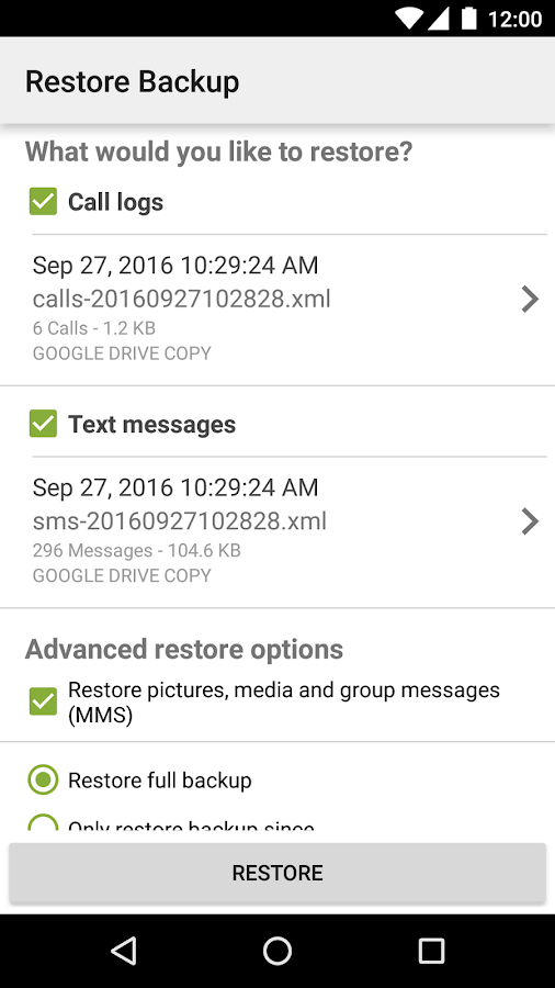 SMS Backup & Restore: captura de pantalla