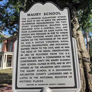 Historical marker for the Maury School. Photo by @carusorobert.