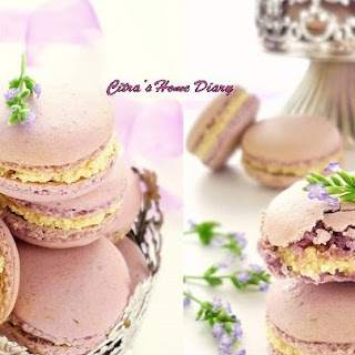 Lavender Macarons with honey lavender white chocolate filling.