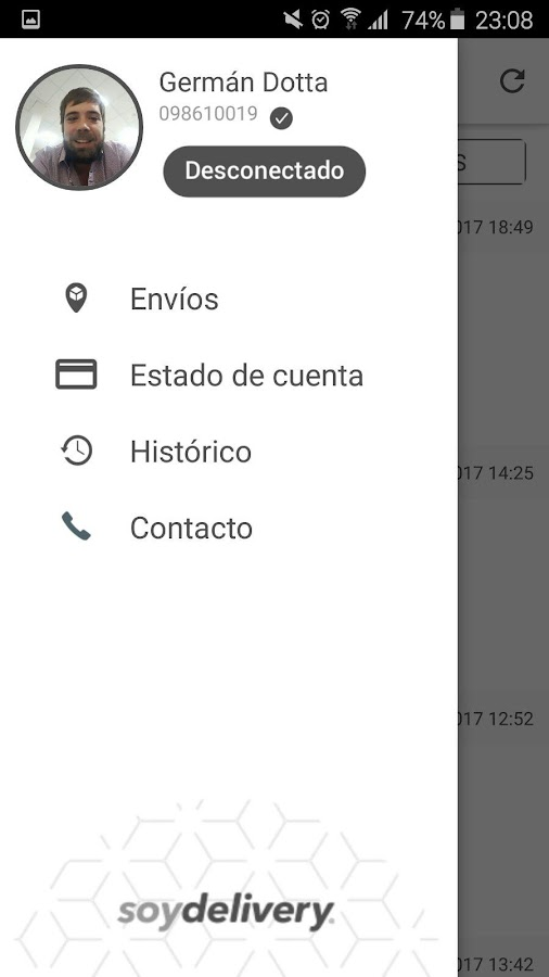 SoyDelivery Conductores: captura de pantalla