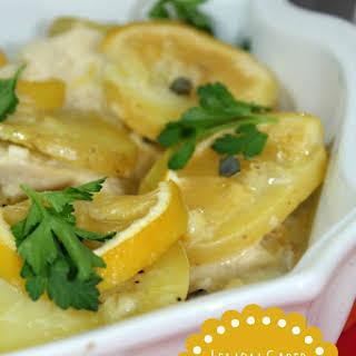 Gluten Free Lemon Caper Chicken Potato Casserole.