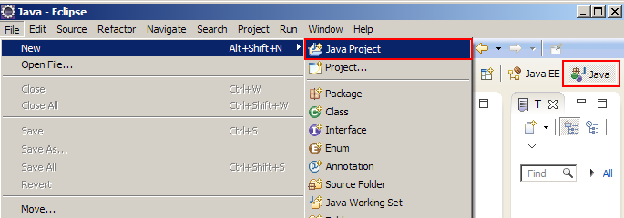 Create a Java Project with the Java perspective selected.