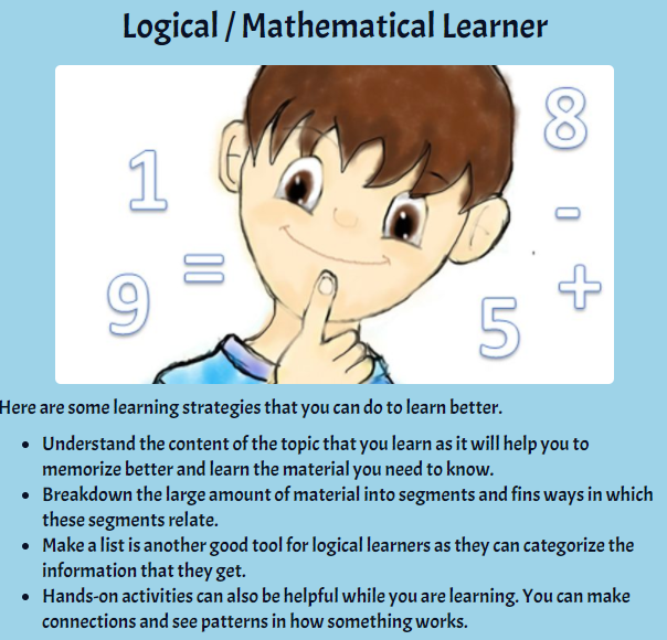 result for logical/mathematical learner