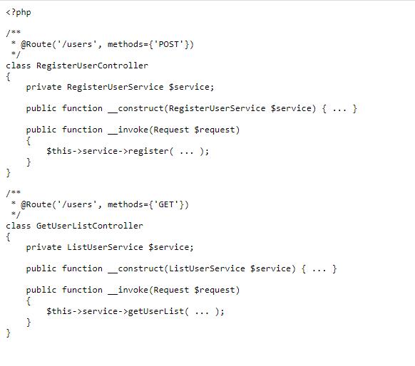 Создайте отдельный контроллер для каждой конечной точки