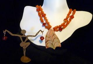 Photo: <BEREHYNYA> {Great Goddess Protectress} unique one-of-a-kind statement jewellery by Luba Bilash ART & ADORNMENT  #84 - SAVANNAH - САВАНА - copper enamel pendant, carnelian, copper, rose gold vermeil $120/set