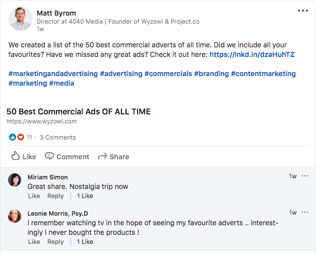 Matt Byrom LinkedIn post
