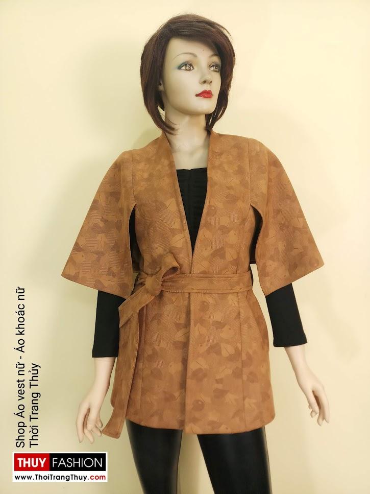 Áo khoác Cape nữ cổ chữ V vải da lộn V668 tại Hà Nội