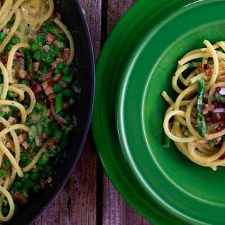 Carbonara with Asparagus and Peas
