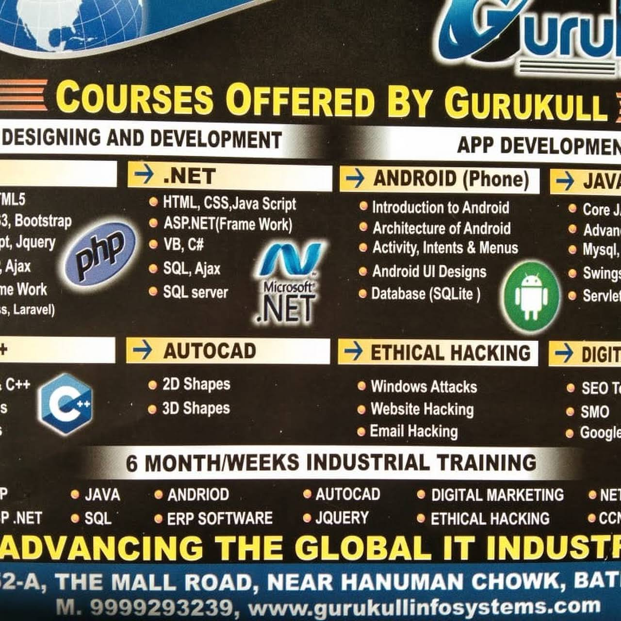 6 Months/ 6 Weeks Industrial Training PHP  NET HACKING