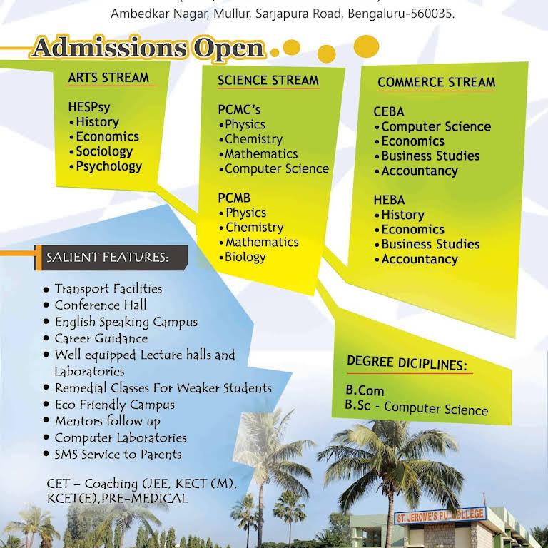 ST  JEROME'S P U & DEGREE COLLEGE - College in Bangalore