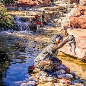 Boy with Frog by Al Judge - Buildings & Architecture Statues & Monuments ( hillside, sculpture, arizona, public art, sedona )