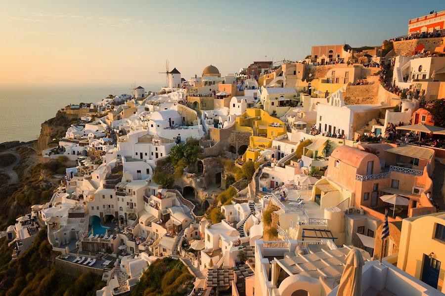Oia, Santorini by Alek Kisielewicz - Landscapes Travel ( sunset, greece, travel, cityscape, oia, landscape, travel photography, cyclades, santorini )