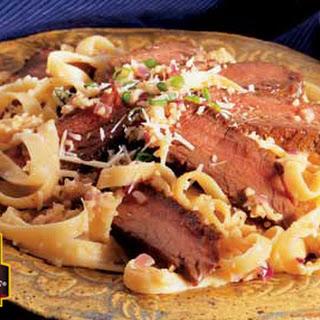 Grilled Sirloin Steak with Mushroom Cream Sauce.
