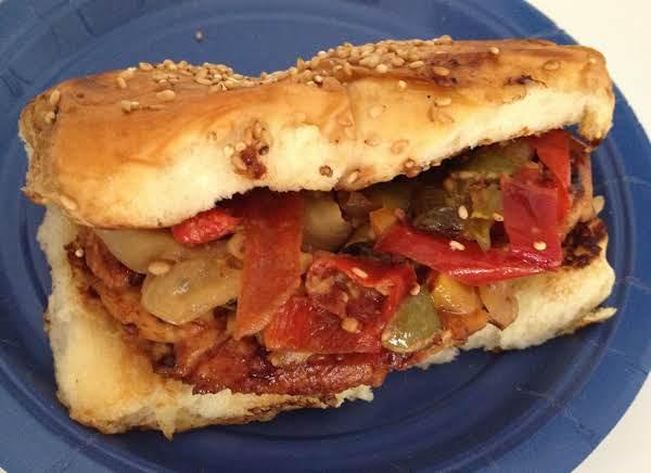 Asian Grilled Chicken And Veggie Street Sandwich.