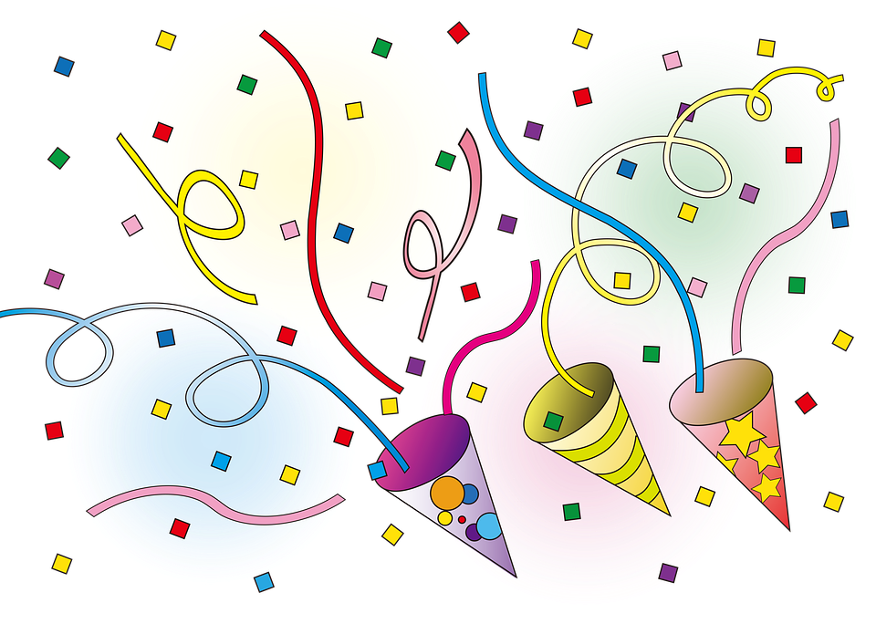 Colorful graphic of celebratory confetti and streamers rising up from festive party hat-like cones