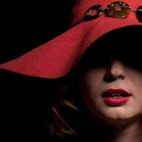 Model Shoot by Tanya Witzel - People Fashion ( sexy, fashion, red, shadow, lips, lipstick, teeth, hair, portrait, hat )