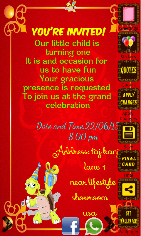 Birthday Invitation Card Maker Android Apps On Google Play - Birthday invitation cards size
