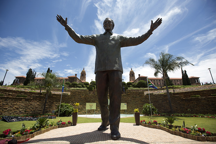 The 9m bronze statue of Nelson Mandela at the Union Buildings