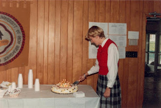 Photo: 1986. APLA-10. University of New Brunswick. Murray Kinloch Souvenir Album, 8  ... and cuts the cake.  Photograph by Jean Kinloch, caption by Murray Kinloch
