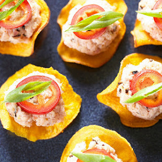 Home Made DEVILED HAM AND SWEET POTATO CHIP BITES