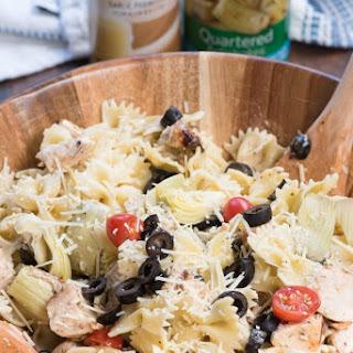 Creamy Mediterranean Chicken Pasta Salad.