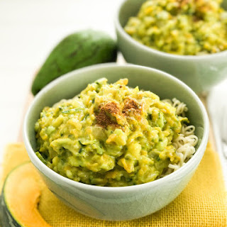Japanese Noodles with creamy pumpkin and avocado sauce.