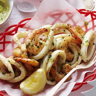 Shrimp and Calamari with Garlic Butter.