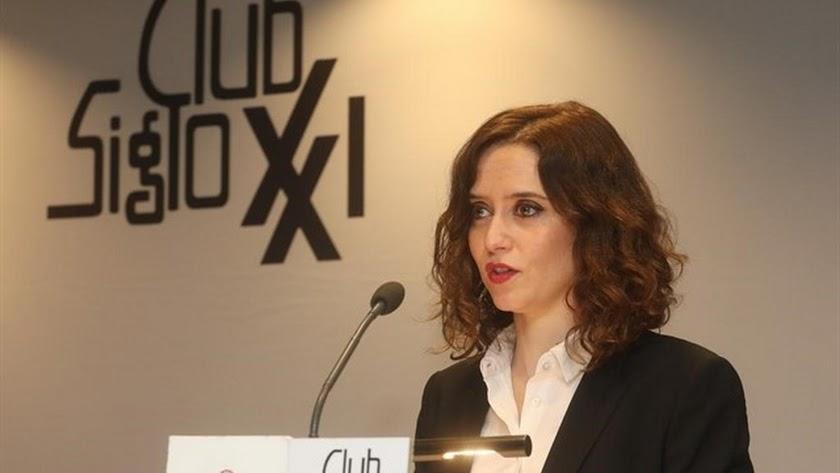 Isabel Díaz Ayuso, en el Club Siglo XXI.