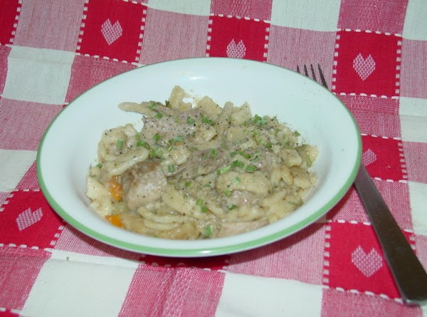 When noodles are tender to your preference, add the chopped turkey meat and heat...