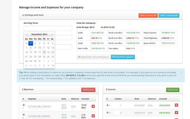 InvoiceApp Chrome Web Store - Invoice web app