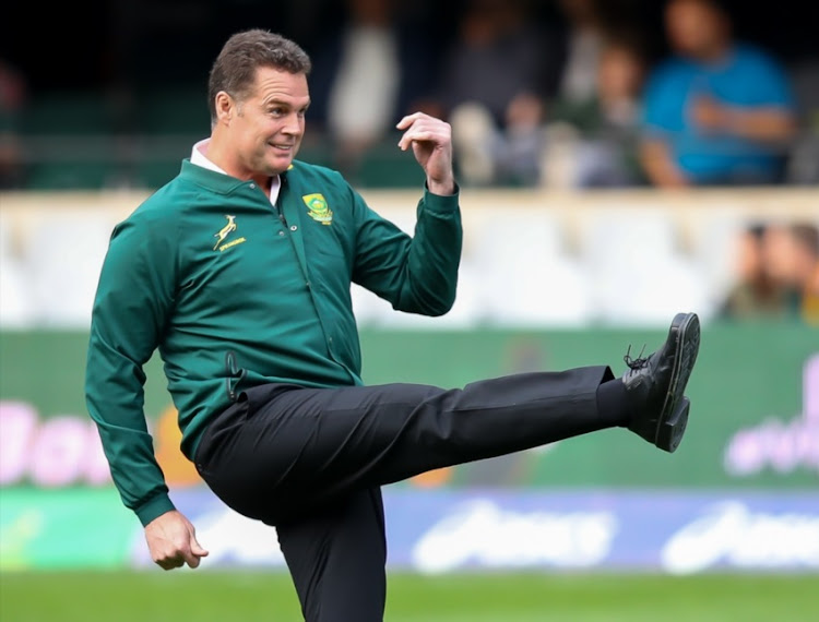 Springbok coach Rassie Erasmus dropping for goal in the warm up session during the Rugby Championship match between South Africa and Argentina at Jonsson Kings Park on August 18, 2018 in Durban, South Africa.