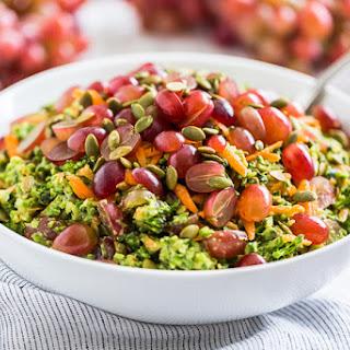 Healthy Broccoli Salad with Creamy Avocado Dressing.