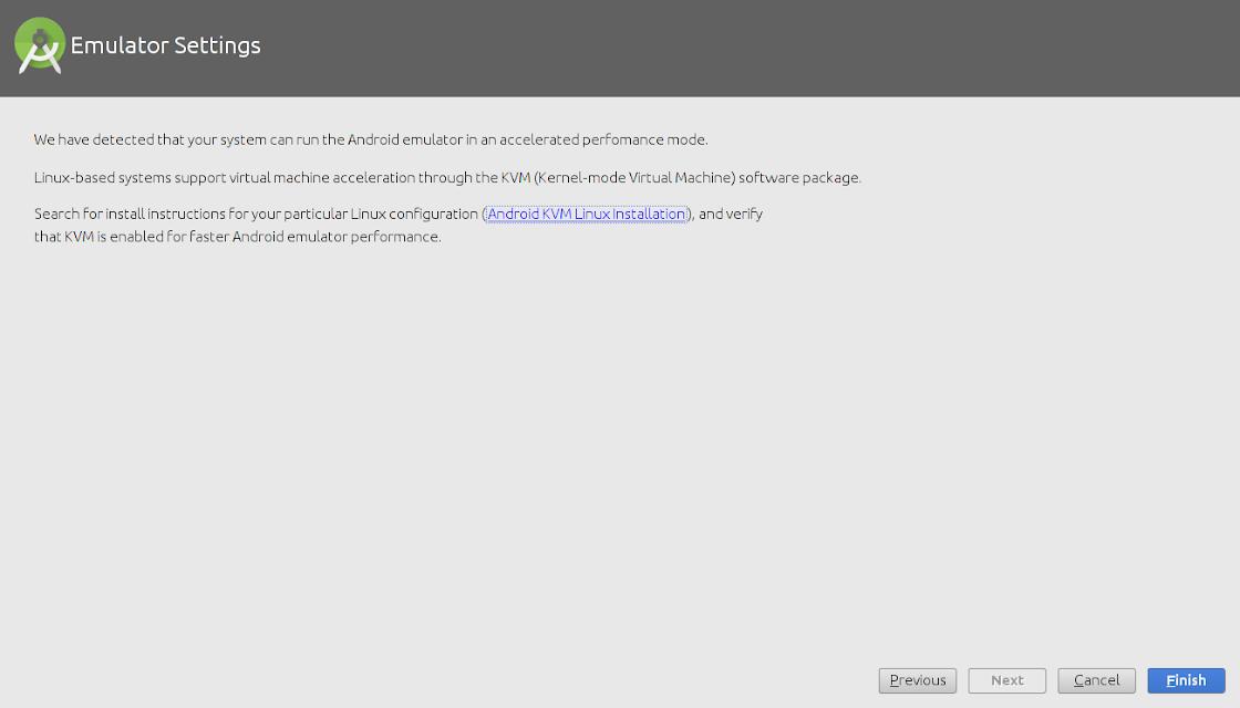 Sugerencia de configuración del emulador de Android studio
