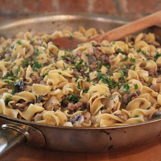 Beef Stroganoff Hamburger Dinner In A Skillet