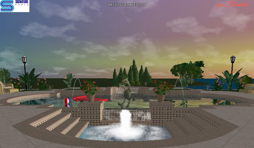 Photo: Walk around, fly up into the air, view the site from any point or any angle. And with a full library of water effects, toys, patio furniture, landscape and building materials, creating a full color, interactive 3D rendering of your new pool is only as limited as your imagination!