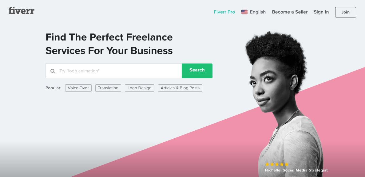 upwork alternative Screenshot of Fiverr home page