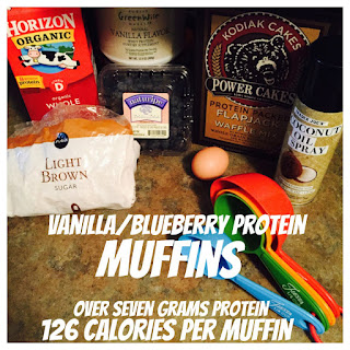"""Vanilla/Blueberry Protein Muffins AKA Power Muffins""."