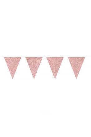 Flaggirlang, glitter rosé, 6m