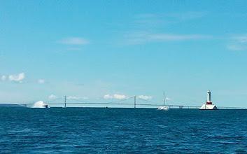 Photo: Mackinac Bridge off our stern as we begin the return trip