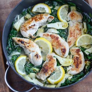 Skinny Spinach Artichoke Chicken Skillet.
