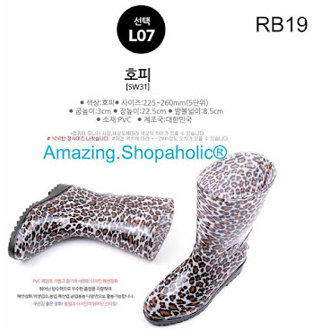 韓國直送  中筒豹紋水鞋 RB19