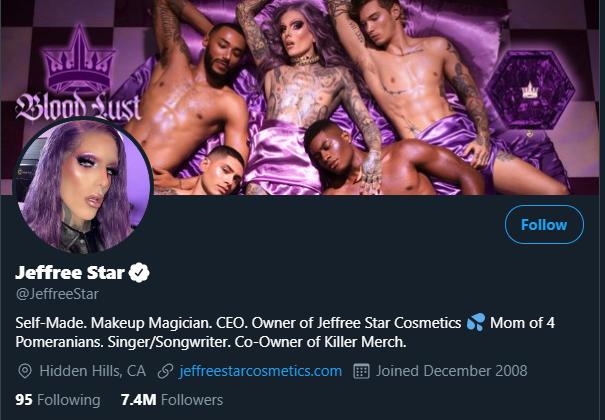 Jeffree Star has over 7 million followers on Twitter.