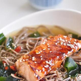 Soba Noodle In Kombu Dashi With Teriyaki Salmon.