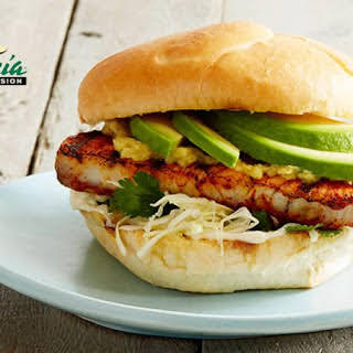 Achiote Grilled Fish Sandwich with California Avocado and Roasted Pineapple-Jalapeño Spread.