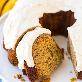 Banana Bundt Cake with Vanilla Cream Cheese Frosting.