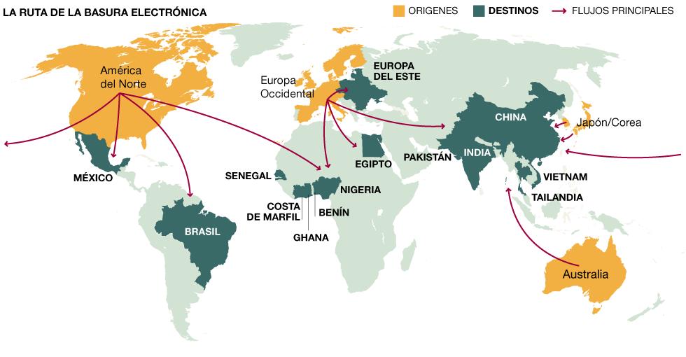 Resultado de imagen para mapa mundial de los residuos electronicos