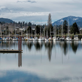 reflection by Chris Bartell - City,  Street & Park  Vistas ( 2018, march, hood river, hood, river )