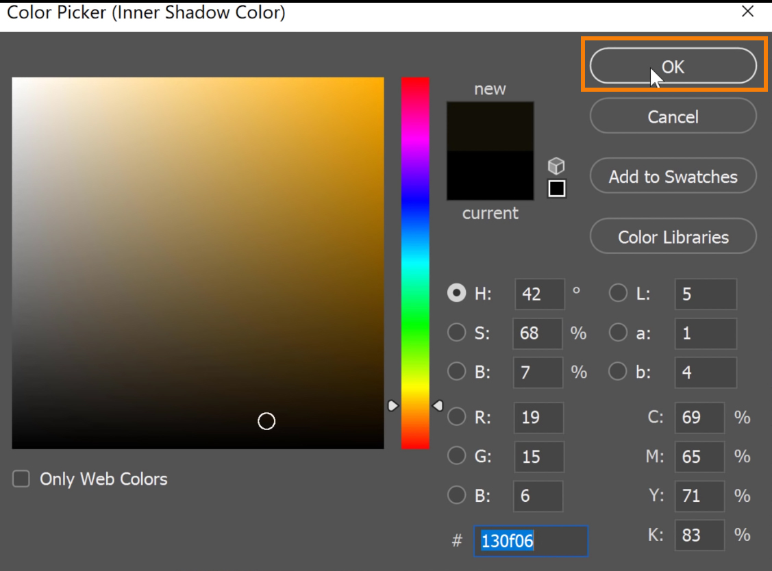 Select the dark golden color as the color of the inner shadow