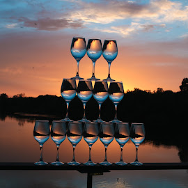 Perfect Balanced  by Stefan Klein - Artistic Objects Glass ( glasses, sunrise, waterscape, artistic, river,  )