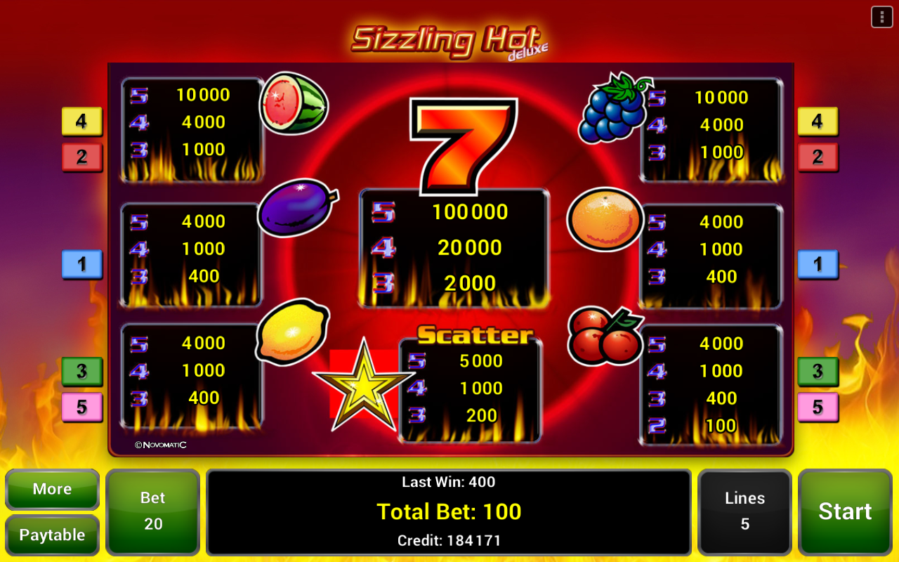 sizzling hot deluxe slot android download